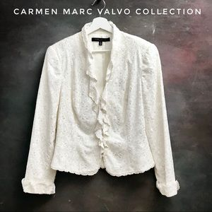 carmen marc valvo collection beaded jacket ivory
